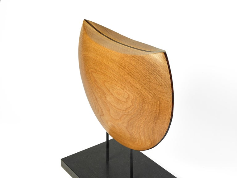 White oak is one of the preeminent hardwoods of North America and is contrasted in this sculpture with an exotic wood native to South America, Cocobolo. Hand carved, shaped, and polished, these woods meld into beautiful symmetry in this geometric