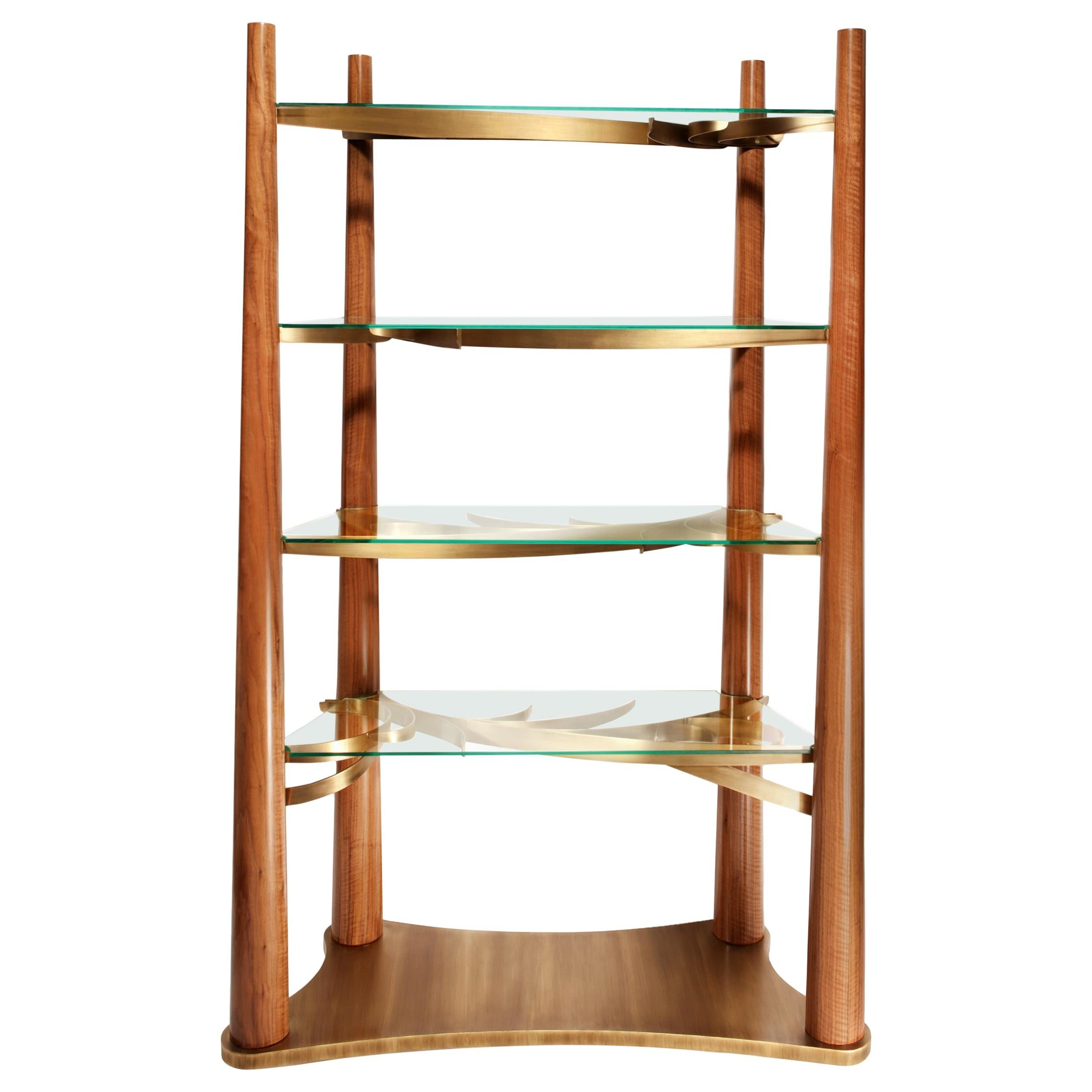Into the Woods Bookcase, Walnut and Brass, Insidherland by Joana Santos Barbosa