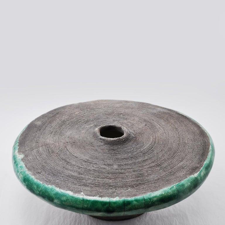 Modern Intorno al Cerchio Round Raku Sculpture Vase by Nino Basso For Sale