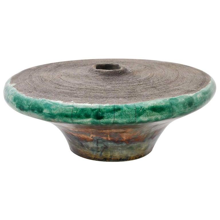 Intorno al Cerchio Round Raku Sculpture Vase by Nino Basso For Sale