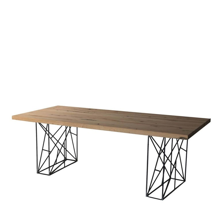 Intreccio Table in Iron and Solid Oak In New Condition For Sale In Milan, IT