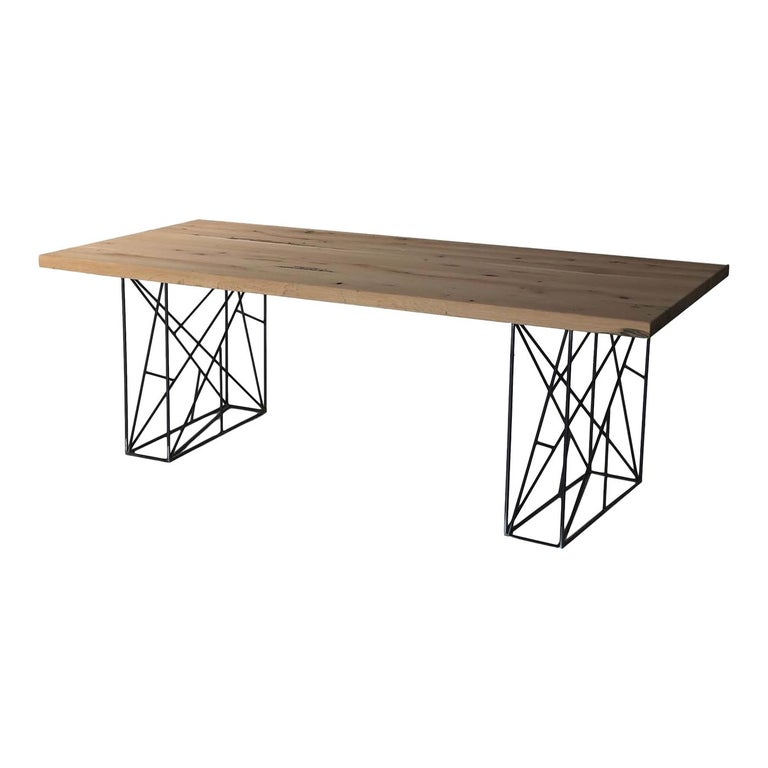 Intreccio Table in Iron and Solid Oak For Sale