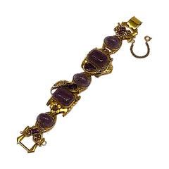 Intricate 1940s Bracelet with Purple Glass Stone, Henkel & Grosse