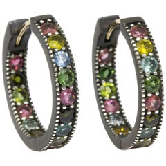 Intricate Multi Tourmaline Gold and Oxidized Hoop Earrings