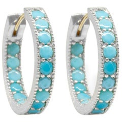Intricate Turquoise Gold and Silver Hoop Earrings