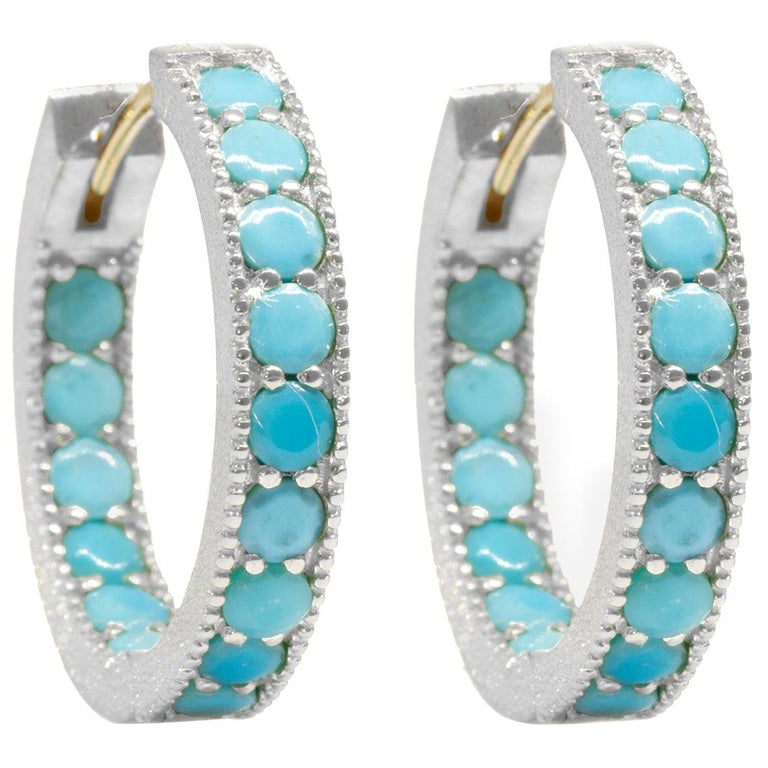 Intricate Turquoise Gold and Silver Hoop Earrings For Sale