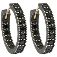 Intricate Black Spinel Gold and Silver Hoop Earrings