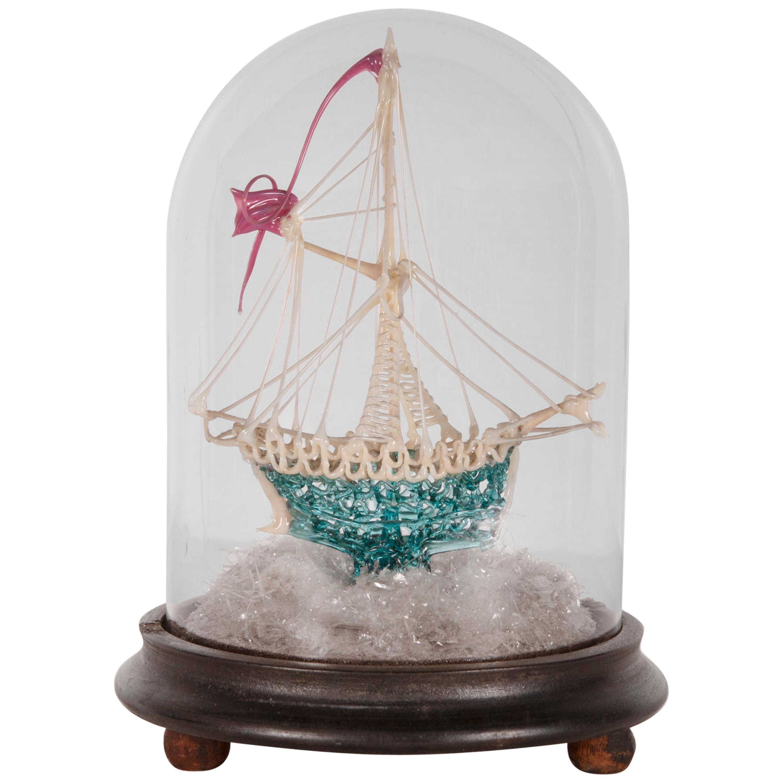 Intricate Blown Glass Ship, Late 19th Century