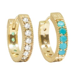 Intricate Brilliant Diamond and Turquoises 18 Karat Gold Reversible Huggies