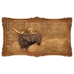 Intricate Carved Wood Moose Plaque