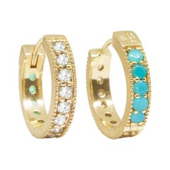 Intricate Champagne Diamond and Turquoises 18 Karat Gold Reversible Huggies