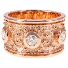 ''Intricate Design'' White Diamond Heavy 18K Gold Spectacular Ring