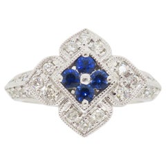 Intricate Diamond & Blue Sapphire Flower Ring