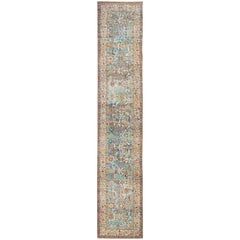 Intricate Floral Design Antique Persian Malayer Runner in Blue, Ivory, Peach
