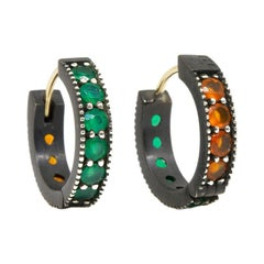 Intricate Green Onyx and Carnelian Gold and Oxidized Reversible Huggies