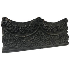 Intricate Hand Carved, Vintage Asian Mid-Century Wooden Scalloped Printing Block