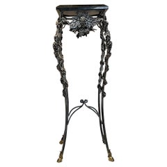 Intricate Iron Stone & Bronze Pedestal Stand Entry Table by Maitland Smith 1980