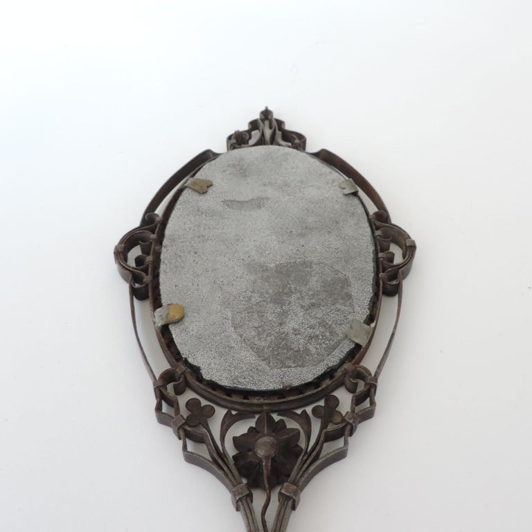 Intricate Italian Iron Hand Mirror with M Initial, 1920s For Sale 2