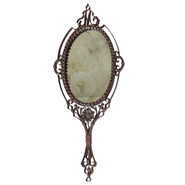 Intricate Italian Iron Hand Mirror with M Initial, 1920s For Sale