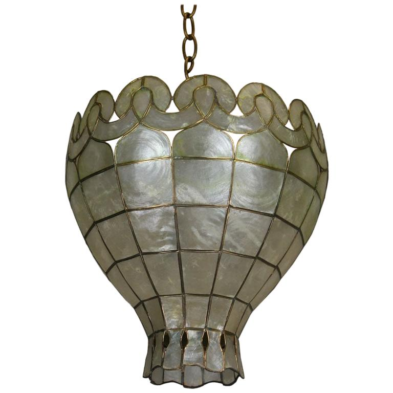 Intricate Midcentury Capiz Shell Pendant