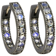 Intricate Moonstone Gold and Oxidized Hoop Earrings