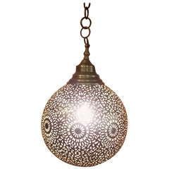 Intricate Moroccan Copper Wall or Ceiling Lamp or Lantern, Ball Shape