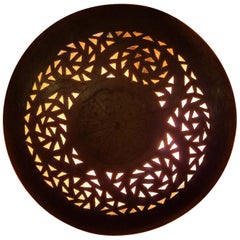 Intricate Moroccan Copper Wall Sconce, Small Circular