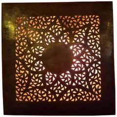 Intricate Moroccan Copper Wall Sconce, Small Square