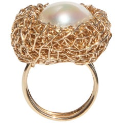 Intricate Stylish Fresh Water Pearl Cocktail Ring in Gold Nest by Sheila Westera