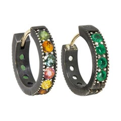 Intricate Tourmaline and Emerald Gold and Oxidized Reversible Huggies