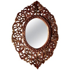 Intricately Carved Islamic Oval Mirror