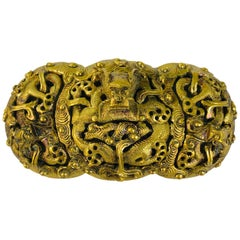 Intricately Carved Vintage Chinese Brass Belt Buckle