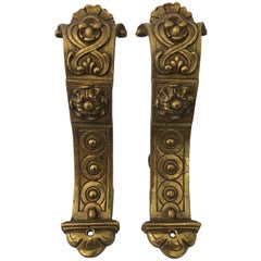 Intricately Detailed French Brass Very Heavy Curtain Rod Brackets, Set of Two