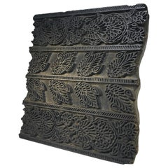 Intricately Hand Carved, Vintage Asian Midcentury Heavy Wooden Square Printing