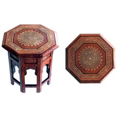 Intricately Inlaid Anglo Indian Octagonal Side-Tea Table with Brass Inlay