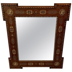 Intricately Inlaid Large Antique Moorish Style Mirror