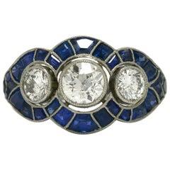 Intriguing 3-Stone Diamond Engagement Ring Trinity Sapphire Art Deco Revival