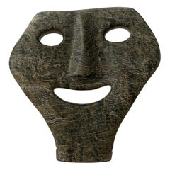 Intuit Carved Greenstone Mask Figurative Sculpture