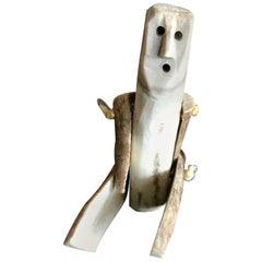 Inuit Arctic Region Folk Art Bone Hand Carved Doll Puppet Child's Toy