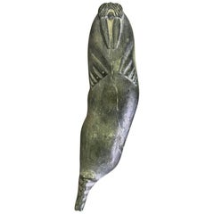 Inuit Native American Eskimo Signed Stone Carved Walrus Sculpture