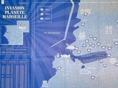 Invader Was Here INVASION PLANÈTE MARSEILLE Map PRINT SPACE INVADER ARTIST GAME