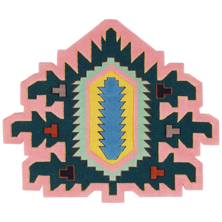 For Sale: Pink (Palmette Lazer Cannon Standard) Invaders Palmette Lazer Cannon Rug by CC-Tapis