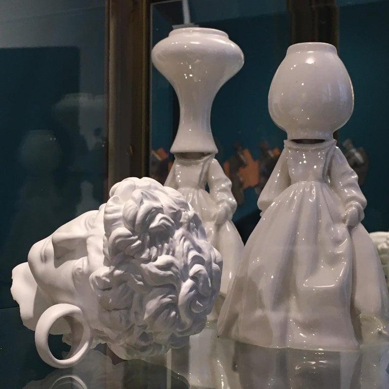 Glazed Invasata by Andrea Salvatori, White Ceramic Sculpture Italy Contemporary For Sale