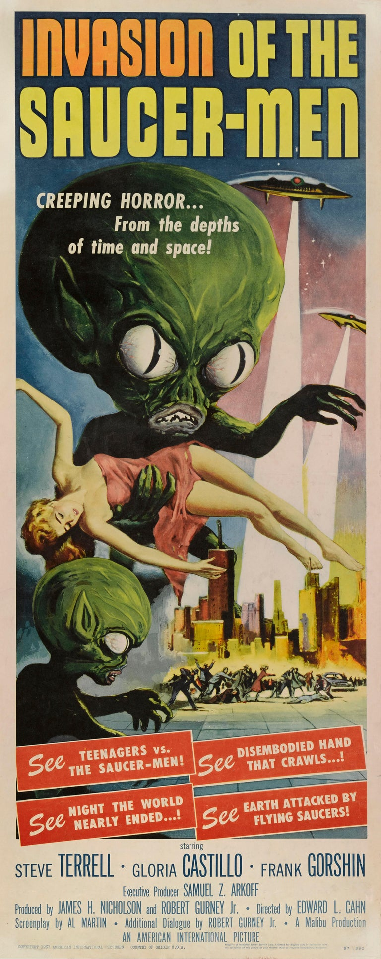 Original US film poster for the 1957 Science fiction movie. 1950s science fiction is populated by monsters and aliens. These fantastic creatures, state of the art in their time, now appear strangely dated, especially on the screen where their