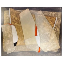 Invention, Abstract Mixed-Media Painting on Canvas, 2016, Tan, Gray, Red