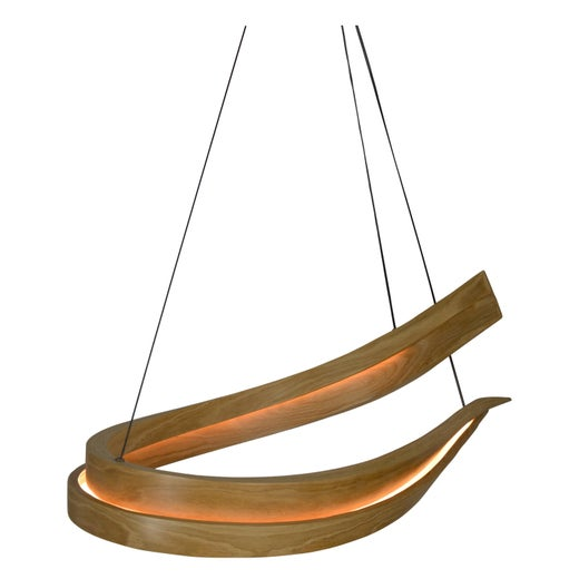 Invert, Curved Wooden Pendant Light with Warm LED Back-Lit Glow