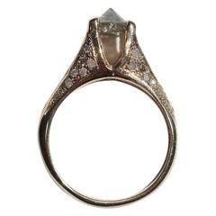 Inverted Grey Diamond Ring in 14 Karat Yellow Gold