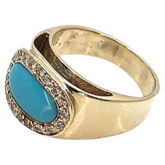 Inverted Oval Halo Band in Sleeping Beauty Turquoise, Diamonds and Yellow Gold