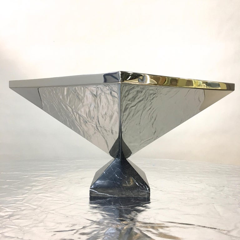 Inverted Pyramid Polished Stainless Centerpiece on Marble Pyramid Base For Sale 4