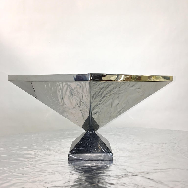 Italian Inverted Pyramid Polished Stainless Centerpiece on Marble Pyramid Base For Sale